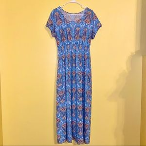 Blue Patterned Maxi Dress